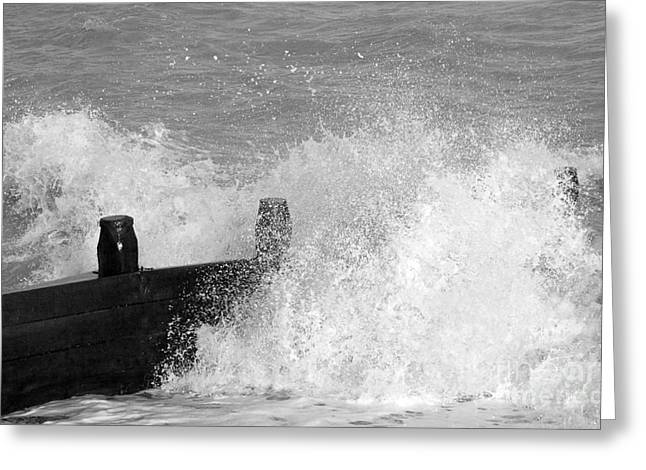 Beach Photos Digital Greeting Cards - Crashing Sea Wave - Black and White Greeting Card by Natalie Kinnear