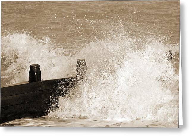 Lounge Digital Greeting Cards - Crashing Sea Wave - Sepia Greeting Card by Natalie Kinnear