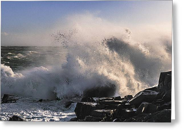 Quoddy Head State Park Greeting Cards - Crashing Surf Greeting Card by Marty Saccone