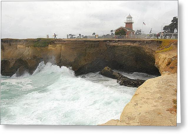 Surfing In Santa Cruz Greeting Cards - Crashing Surf Near The Lighthouse Greeting Card by Ron Regalado