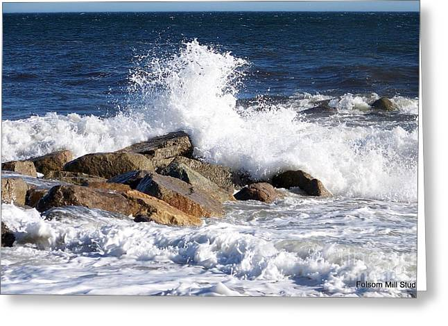 Storm Lovers Art Greeting Cards - Crashing Surf On Plum Island Greeting Card by Eunice Miller
