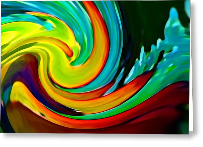 Abstract Nature Digital Greeting Cards - Crashing Wave Greeting Card by Amy Vangsgard