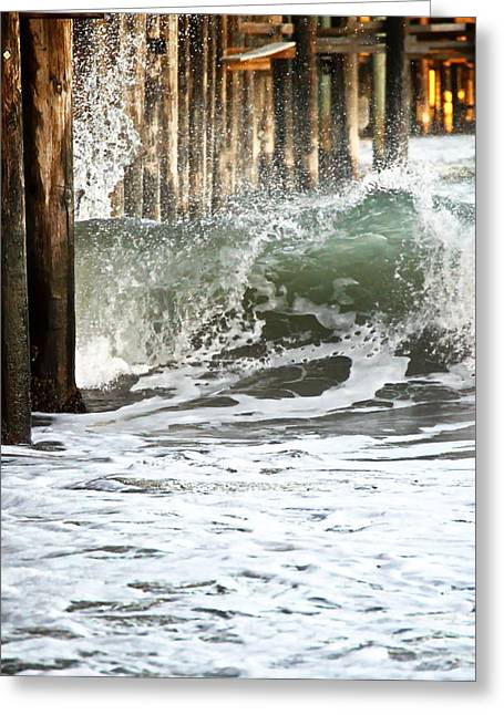 Santa Cruz Pier Greeting Cards - Crashing Wave Greeting Card by Christina Ochsner