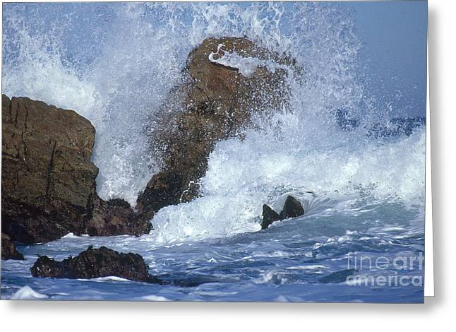 Californian Greeting Cards - Crashing Wave Greeting Card by Mark Newman