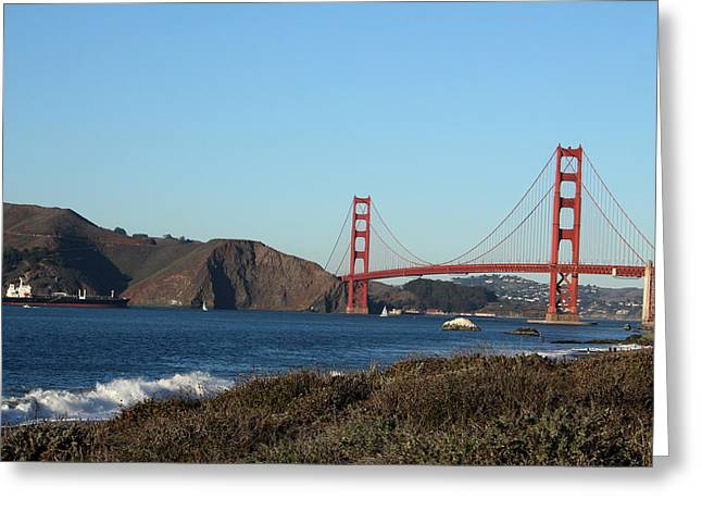 San Francisco Golden Gate Bridge Greeting Cards - Crashing Waves and the Golden Gate Bridge Greeting Card by Linda Woods