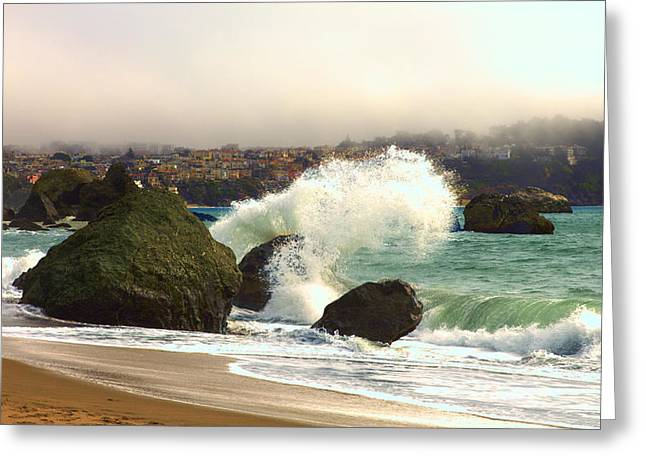 Pacific Ocean Prints Greeting Cards - Crashing Waves Greeting Card by Bryant Coffey