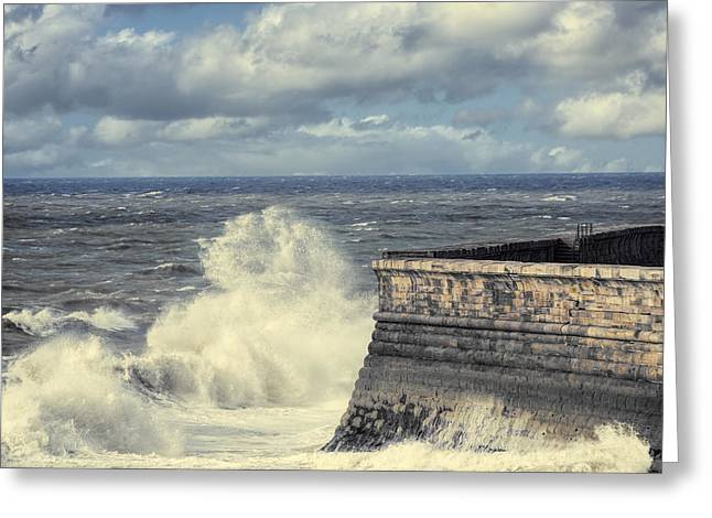 Sea Wall Greeting Cards - Crashing Waves Greeting Card by Amanda And Christopher Elwell