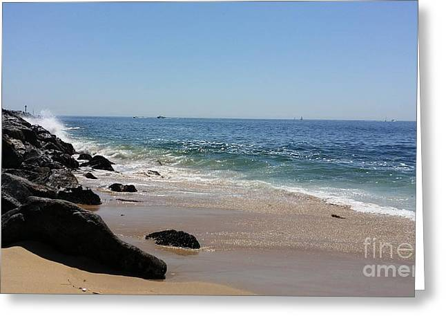 Jetty View Park Greeting Cards - Crashing Waves Greeting Card by Michael Cracchiola