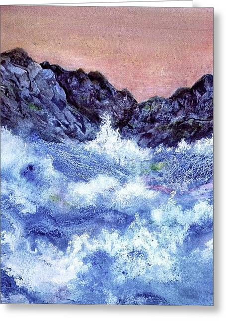 Pouring Mixed Media Greeting Cards - Crashing Waves Greeting Card by Ming Franz
