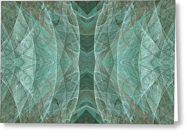 Abstract Waves Greeting Cards - Crashing Waves Of Green 1 - Panorama - Abstract - Fractal Art Greeting Card by Andee Design