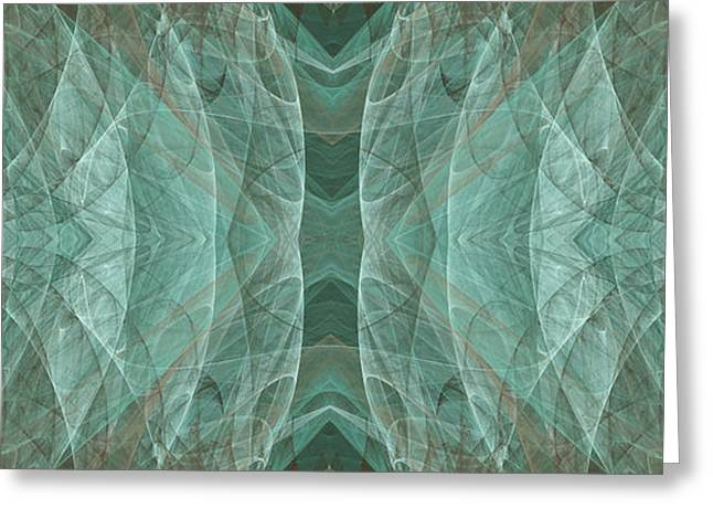Crashing Waves Of Green 2 - Panorama - Abstract - Fractal Art Greeting Card by Andee Design