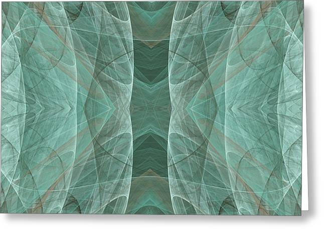 Swishes Greeting Cards - Crashing Waves Of Green 4 - Square - Abstract - Fractal Art Greeting Card by Andee Design