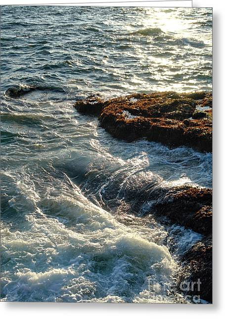 Maine Shore Greeting Cards - Crashing Waves Greeting Card by Olivier Le Queinec