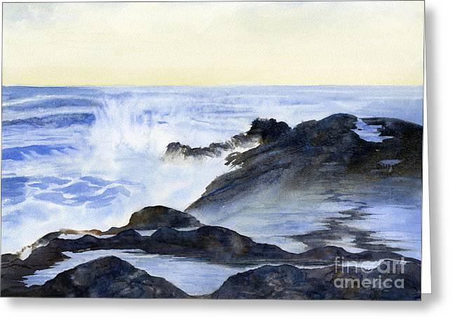 Crashing Wave Greeting Cards - Crashing Waves on Rocks Greeting Card by Sharon Freeman