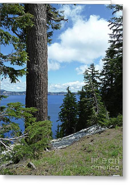 Craters Greeting Cards - Crater Lake 4 Greeting Card by Methune Hively