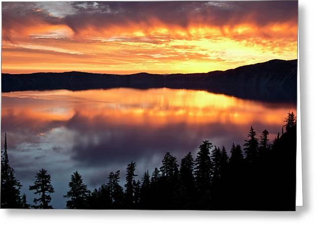 Crater Lake At Sunrise, Crater Lake Greeting Card by Michel Hersen