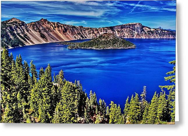 Craters Greeting Cards - Crater Lake Greeting Card by Benjamin Yeager