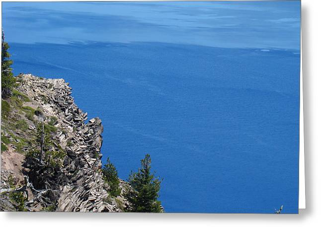 Photography Lightning Greeting Cards - Crater Lake Blue Art Prints Oregon Cliffs Greeting Card by Baslee Troutman