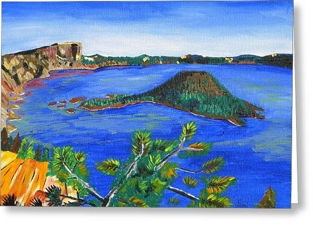 Craters Paintings Greeting Cards - Crater Lake Greeting Card by Eric Johansen