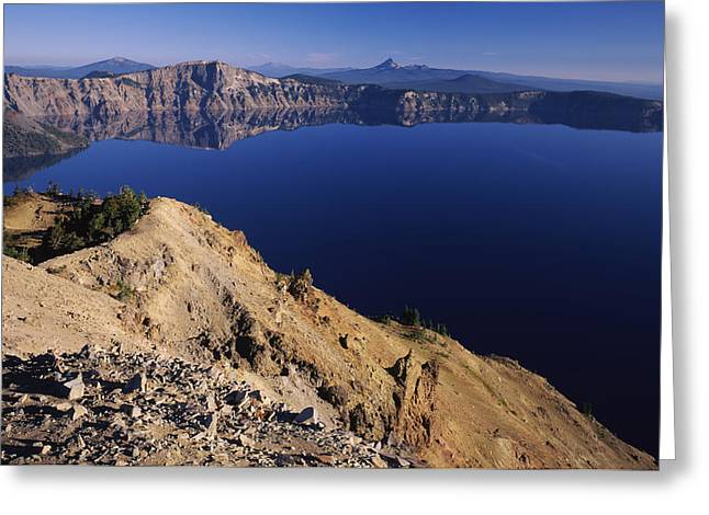 Garfield Greeting Cards - Crater Lake, Garfield Peak, Crater Lake Greeting Card by Panoramic Images