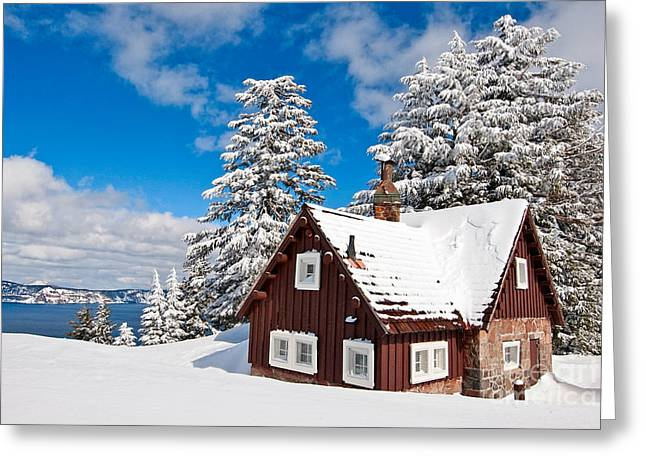 Cabin Greeting Cards - Crater Lake Home - Crater Lake covered in snow in the winter. Greeting Card by Jamie Pham