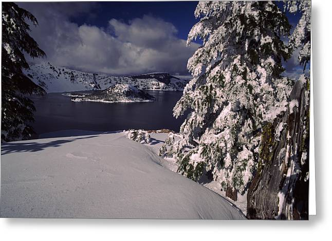 Crater Lake Greeting Cards - Crater Lake In Winter, Wizard Island Greeting Card by Panoramic Images