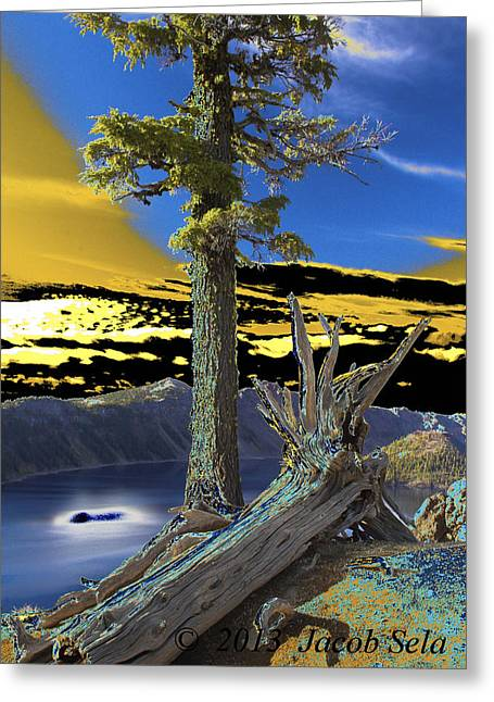 Crater Lake Greeting Card by Jacob Sela