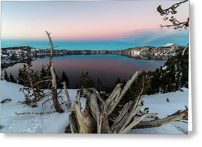 Crater Lake Sunset Greeting Cards - Crater Lake Greeting Card by Mike Ronnebeck