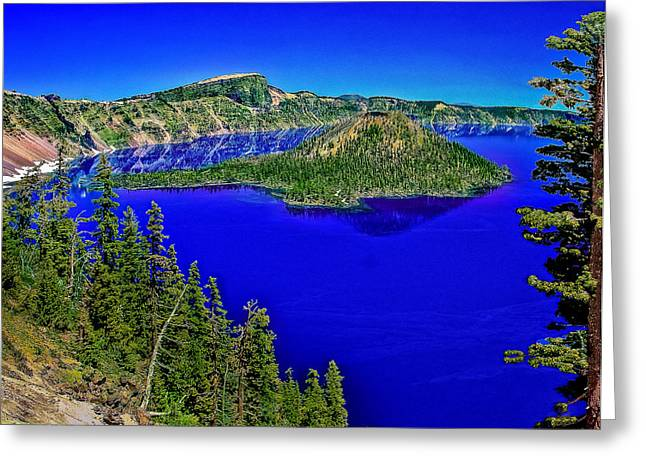 Crater Lake Sunset Greeting Cards - Crater Lake National Park Greeting Card by  Bob and Nadine Johnston
