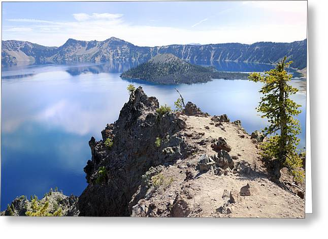 Reflections Of Sky In Water Greeting Cards - Crater Lake National Park Greeting Card by King Wu
