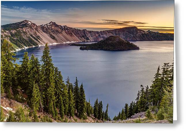 Most Photographs Greeting Cards - Crater Lake National Park Sunrise Greeting Card by Pierre Leclerc Photography