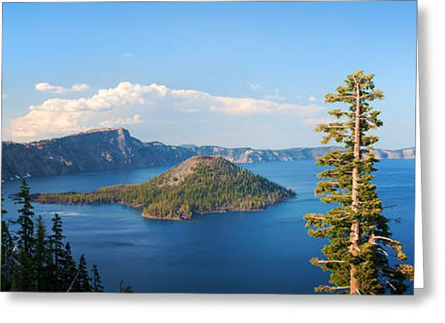 Crater Lake Greeting Cards - Crater Lake Panorama Greeting Card by Inge Johnsson