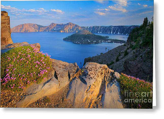 Crater Lake Greeting Cards - Crater Lake Rim Greeting Card by Inge Johnsson