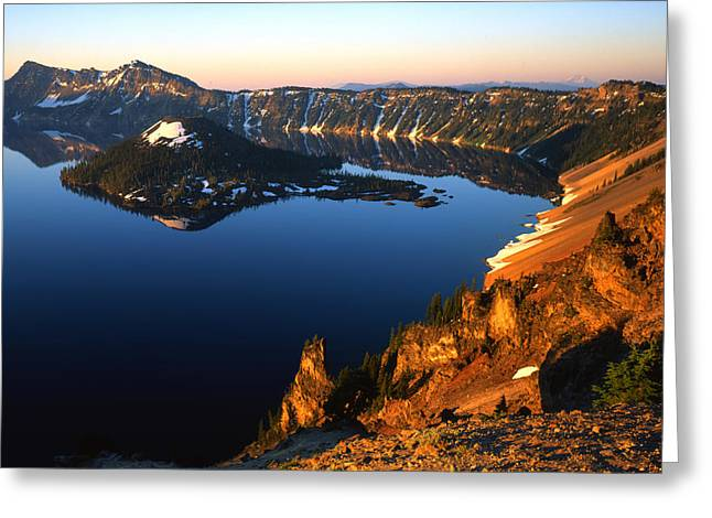 Crater Lake Sunset Greeting Cards - Crater Lake Sunrise Greeting Card by Ray Mathis