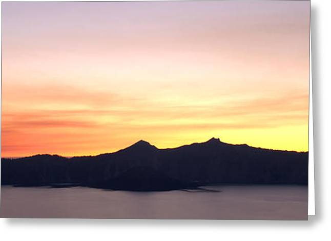 Crater Lake Sunset Greeting Cards - Crater Lake Sunset Greeting Card by Brian Harig