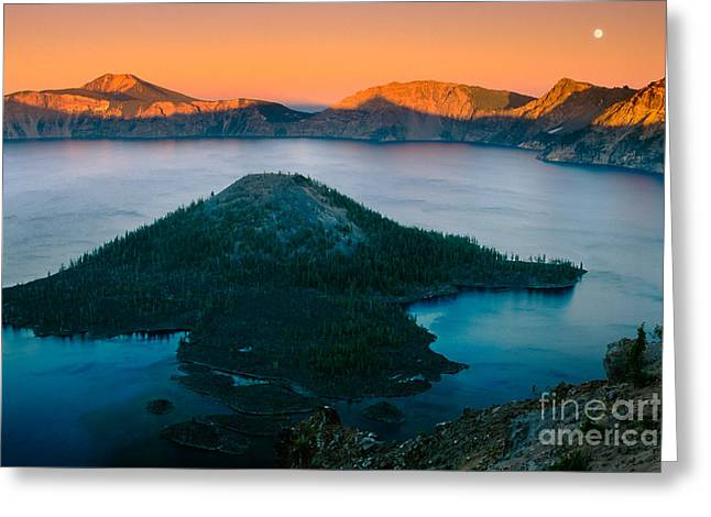 Crater Lake Greeting Cards - Crater Lake Sunset Greeting Card by Inge Johnsson