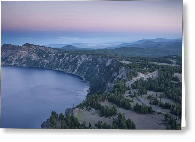 Mazama Greeting Cards - Crater Lake Sunset Greeting Card by Melany Sarafis