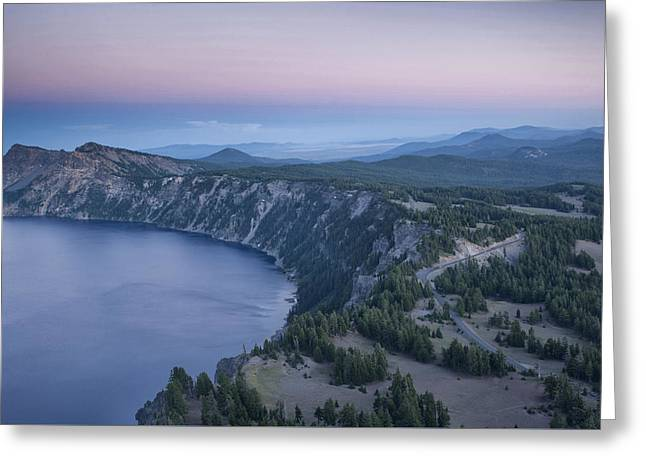 Crater Lake Sunset Greeting Card by Melany Sarafis
