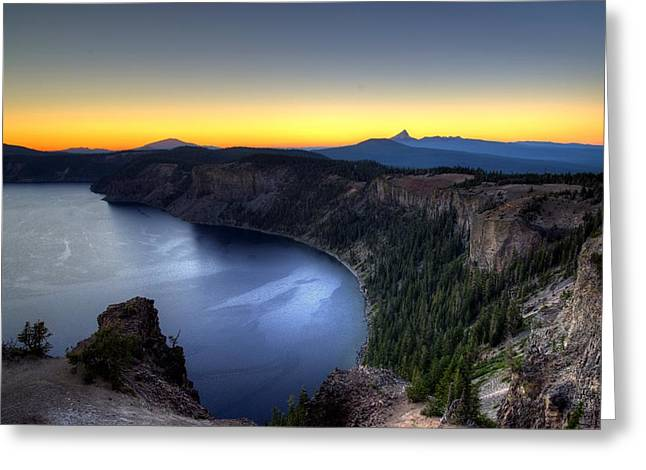 Crater Lake Sunset Greeting Cards - Crater Lake Sunset Greeting Card by Mike Ronnebeck