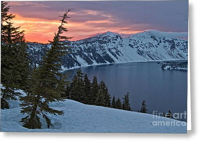 Crater Lake Twilight Greeting Cards - Crater Lake Sunset Greeting Card by Stuart Gordon
