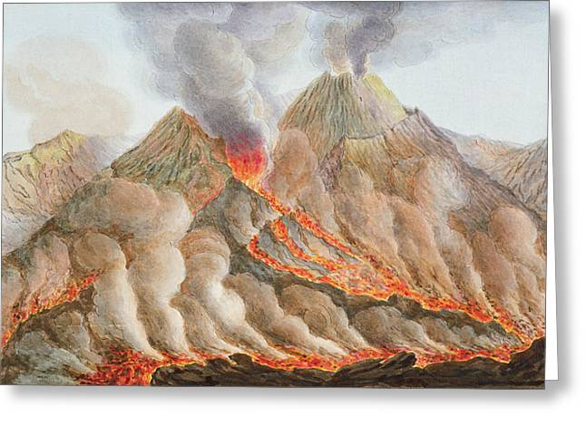 Eruption Greeting Cards - Crater Of Mount Vesuvius From An Greeting Card by Pietro Fabris
