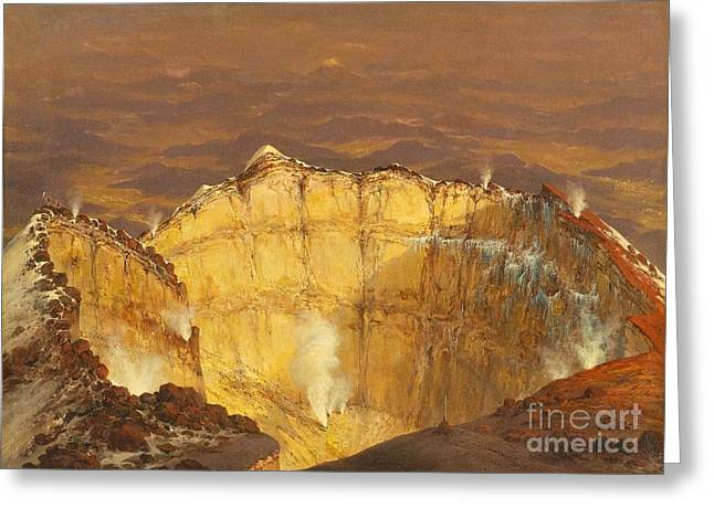 Craters Paintings Greeting Cards - Crater of Popocatepeti Greeting Card by Pg Reproductions