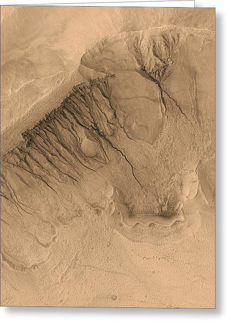 Martians Greeting Cards - Crater on Mars Greeting Card by Anonymous