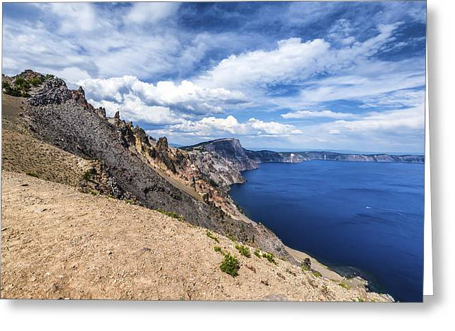 Crater Lake View Greeting Cards - Crater Rim Crater Lake Greeting Card by Joseph S Giacalone