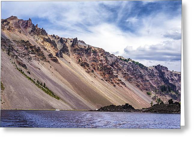 Crater Lake View Greeting Cards - Crater Slope Greeting Card by Joseph S Giacalone