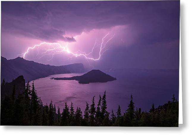 Light Greeting Cards - Crater Storm Greeting Card by Chad Dutson