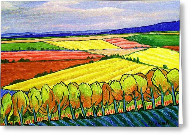 Fauvist Style Greeting Cards - Crau Fields Greeting Card by Rivkah Singh
