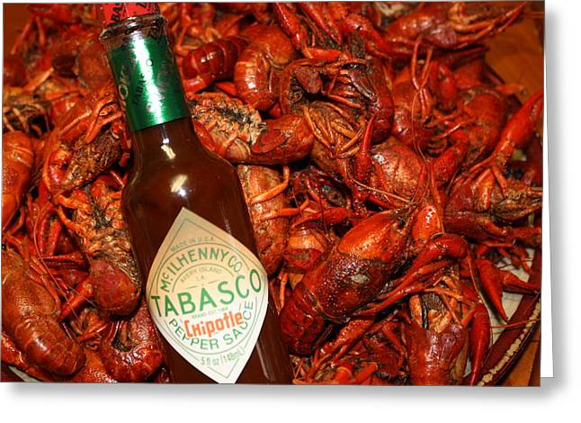 Louisiana Hot Sauce Greeting Cards - Crawfish and Tabasco Greeting Card by Donna G Smith