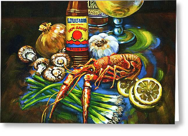 Beer Paintings Greeting Cards - Crawfish Fixins Greeting Card by Dianne Parks