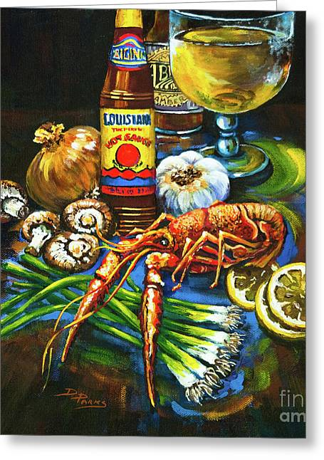 Crawfish Beer Greeting Cards - Crawfish Fixins Greeting Card by Dianne Parks